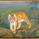 Indian Miniature Bengal Tiger Wild Life Art Handmade Animal Watercolor Painting