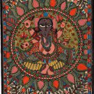 Madhubani Ganesha Art Handmade Indian Tribal Folk Mithila Bihar Ethnic Painting
