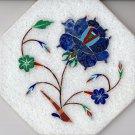 Parchin Kari Marble Inlay Art Handmade 4″ Floral Mosaic Pietra Dura Decor Art