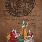Mughal Miniature Ethnic Painting Vintage Stamp Paper Handmade Watercolor Art