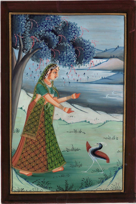 Ragini Ragamala Handmade Painting Rajasthani India Rajput Ethnic Folk Paper Art