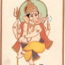 Lord Ganesh Indian Miniature Painting Hindu God Ganesha Ethnic Handmade Artwork