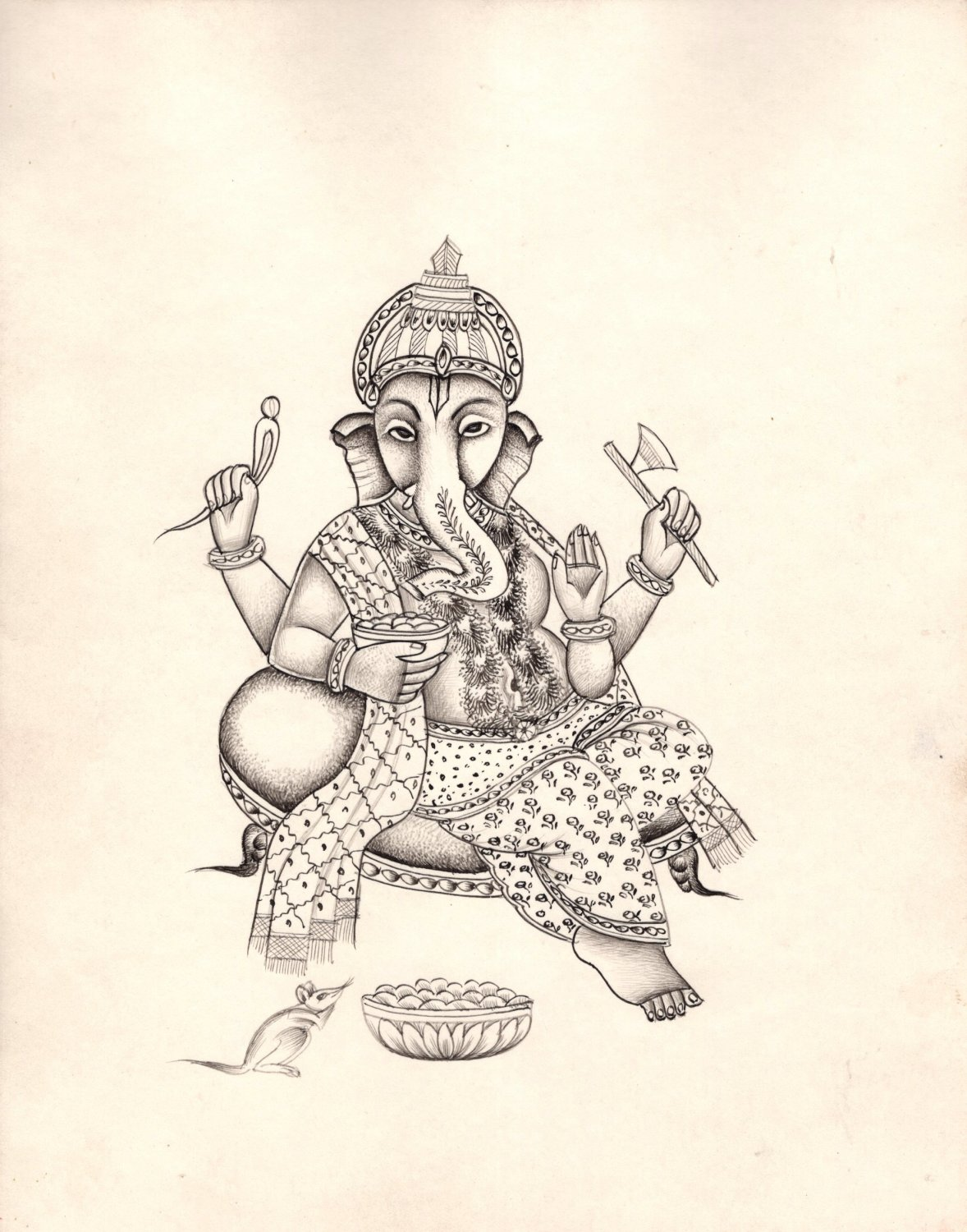 Ganesha Painting Handmade Indian Hindu God Ganesh Ethnic Religion Ink Sketch Art