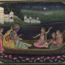 Krishna Radha Art Handpainted Hindu Folk Art Image Painting of Krishn and Gopis
