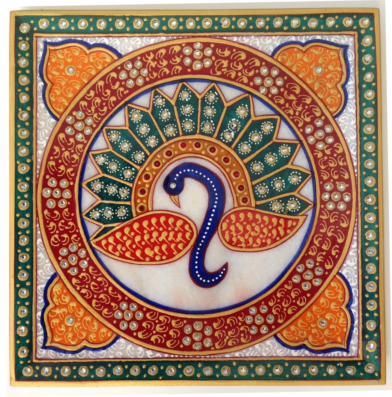 Indian Rajasthani Jaipur Marble Plate Decor Art Handmade Floral Motif Painting
