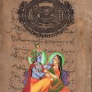 Krishna Radha Art Handmade Religious God Goddess Watercolor Hindu Image Painting