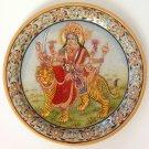Durga Hindu Motif Painting Handmade Indian Rajasthani Jaipur Marble Plate Art