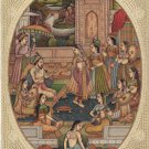 Mughal Miniature Painting Handmade India Moghul Empire Harem Home Decor Folk Art