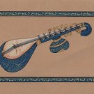 Indian Miniature Painting Veena Classical Musical Instrument Rajathan Ethnic Art
