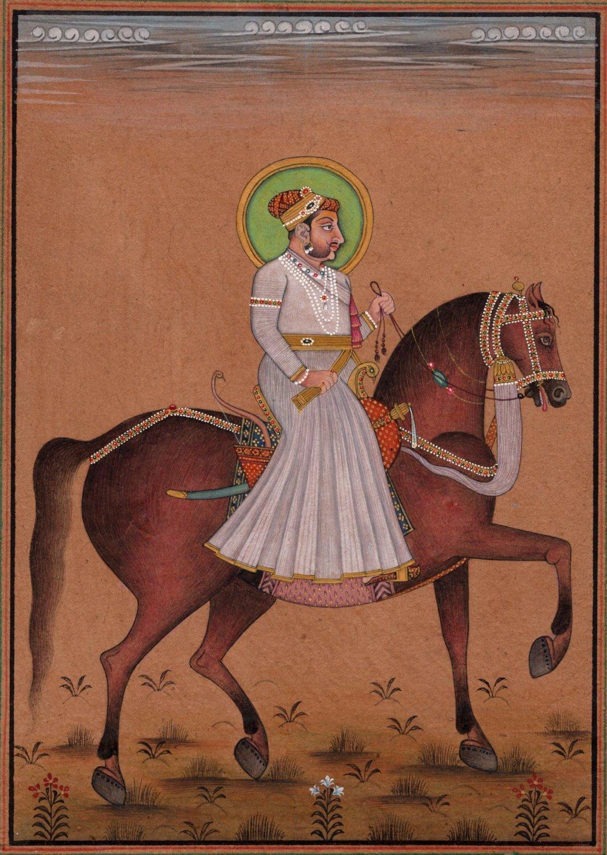 Rajasthani Miniature Painting Handmade Indian Maharaja Equestrian Portrait Art