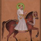 Rajasthani Miniature Painting Handmade Indian Maharaja Equestrian Portrait Art