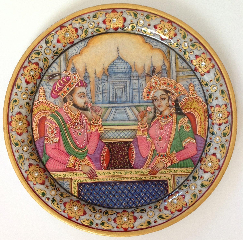 Shah Jahan Mumtaz Mahal 9� Marble Plate Art Handmade Mughal Home Decor Painting
