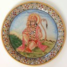 Hanuman Hindu Painting Handmade Indian Rajasthan Jaipur Marble Plate Decor Art