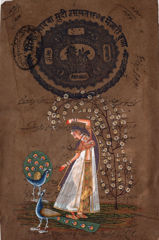 Rajasthani Indian Miniature Ragini Painting Handmade Ethnic Folk Ragamala Art