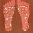 Vishnu Pada Footprint Foot Tantrik Tantric Painting Indian Hindu Handmade Art