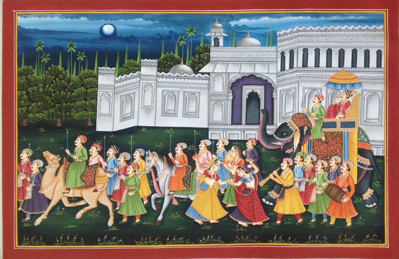Rajasthan Maharajah Procession Painting Handmade Indian Royal Ethnic Folk Art