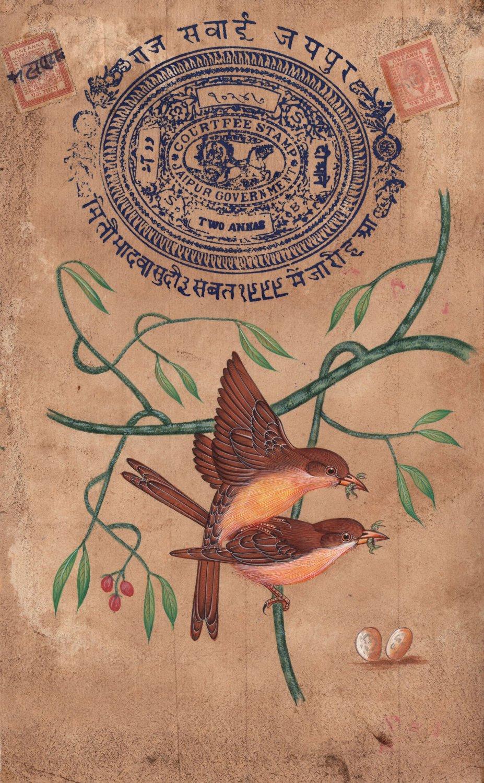 Indian Sparrow Miniature Painting Stamp Paper Handmade Watercolor Bird Artwork
