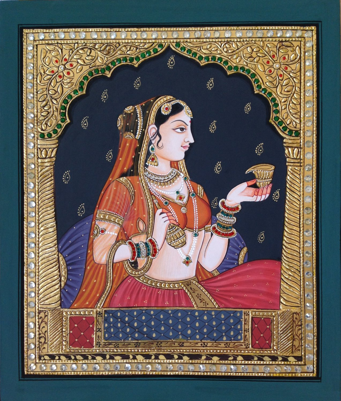 Tanjore Rajasthani Rani Painting Handmade Indian Thanjavur Wall Decor Folk Art