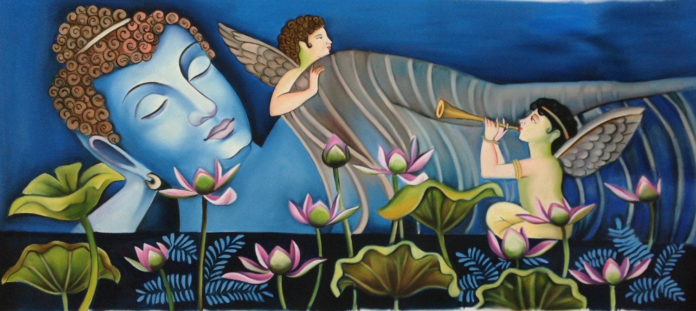 Reclining Buddha Indian Painting Handmade Oil on Canvas Buddhist Wall Decor Art
