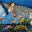 Reclining Buddha Indian Painting Handmade Oil on Canvas Buddhist Wall Decor Art