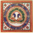 Rajasthani Jaipur Marble Plate Art Handmade Decor Floral Motif Indian Painting