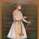 Mughal Emperor Jahangir Painting Handpainted Indian Miniature Portrait Folk Art