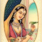 Indian Miniature Painting Handmade Princess Parrot Watercolor Portrait Folk Art