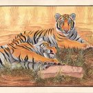 Bengal Tiger Handmade Painting Indian Nature Wildlife Animal Watercolor Artwork