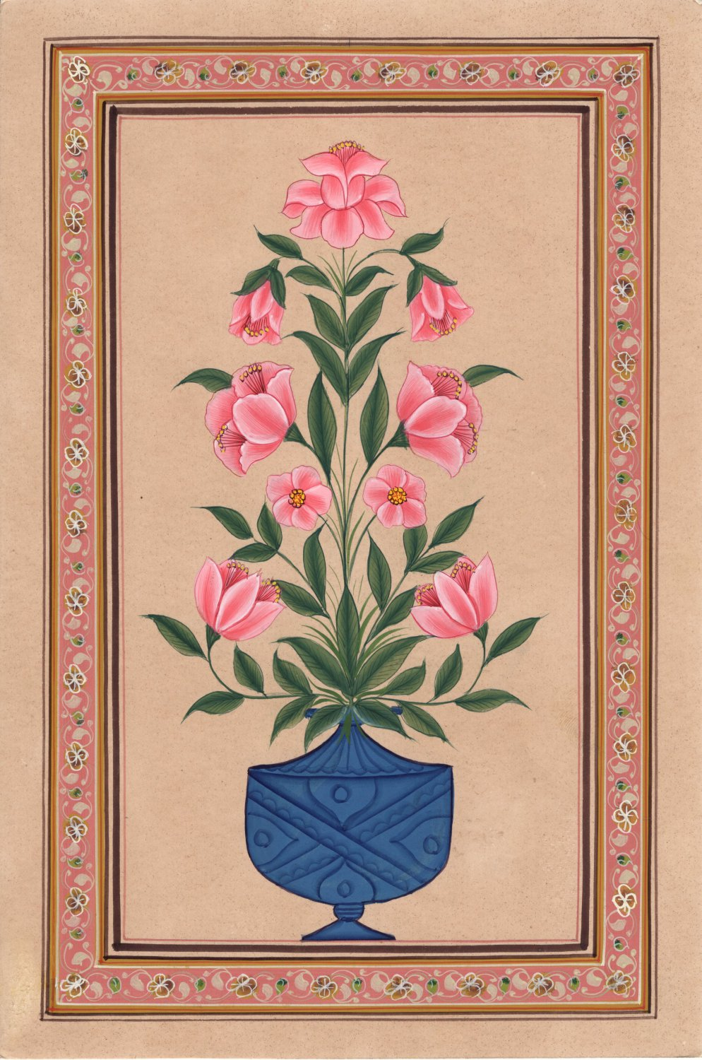 Mughal Floral Miniature Painting Moghul Indian Handmade Nature Lotus