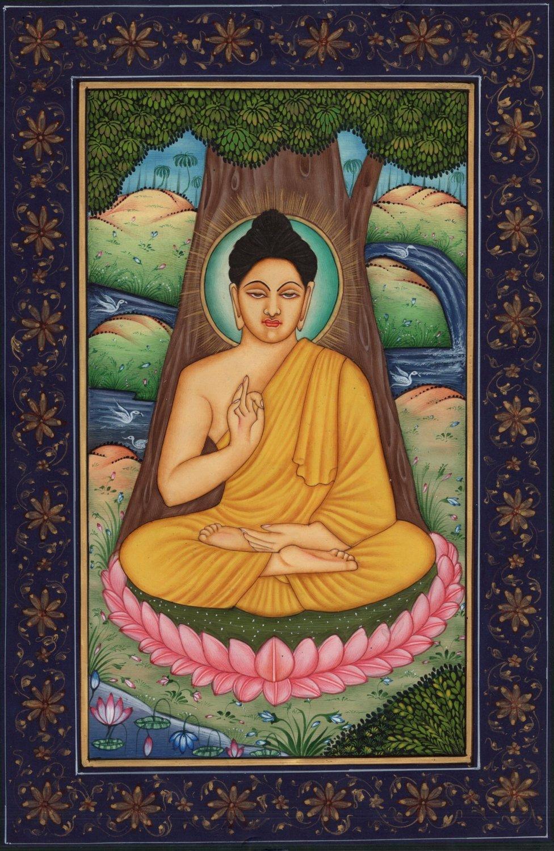 Buddha Painting Siddhartha Gautama Buddhist Rare Handmade Spiritual Paper Art