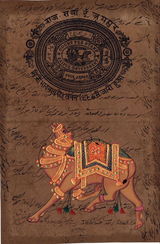Indian Camel Painting Handmade Nature Animal Miniature Ethnic Stamp Paper Art