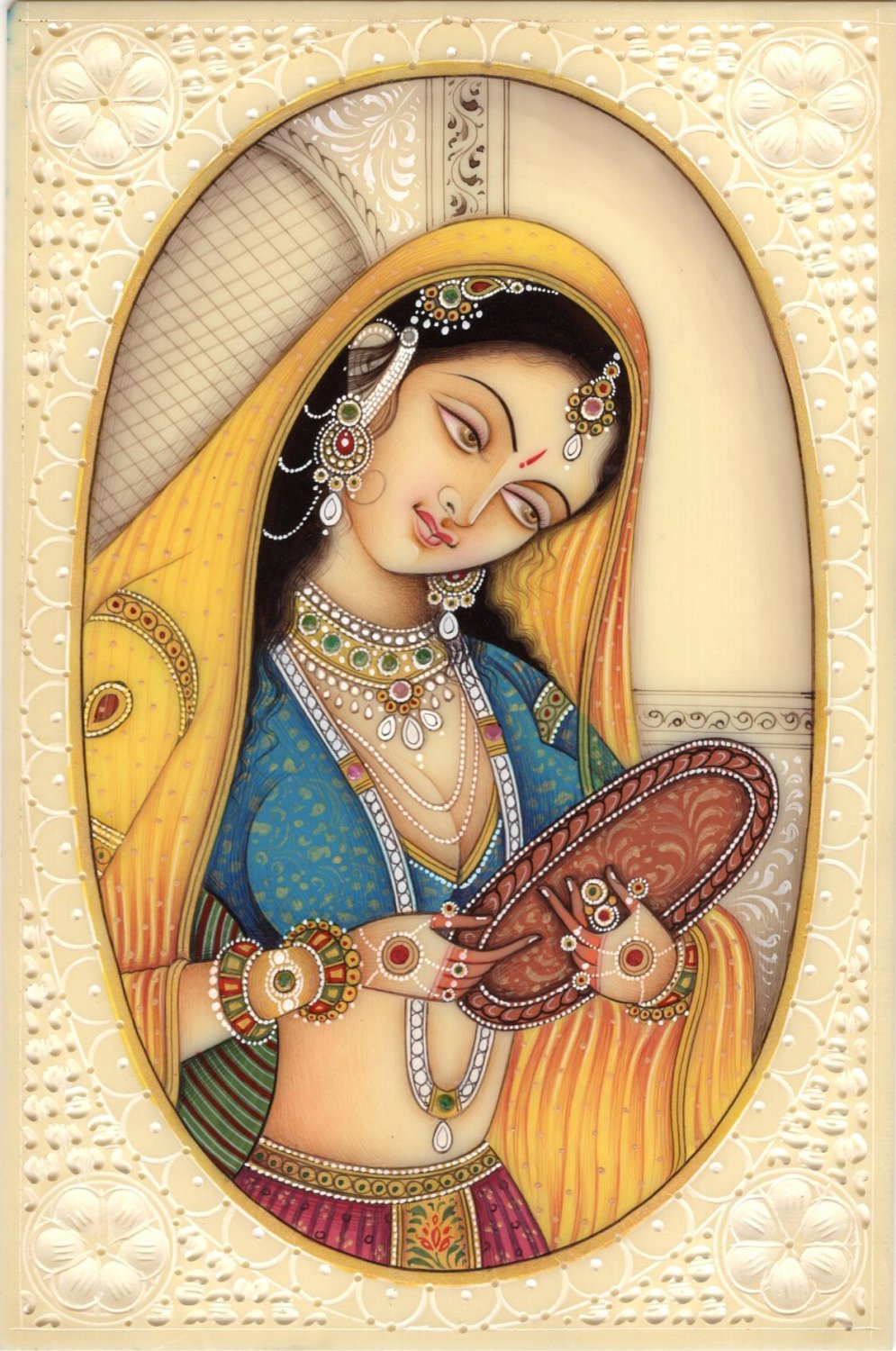 Indian Miniature Painting Rajasthani Lady Princess Handmade Portrait Ethnic Art
