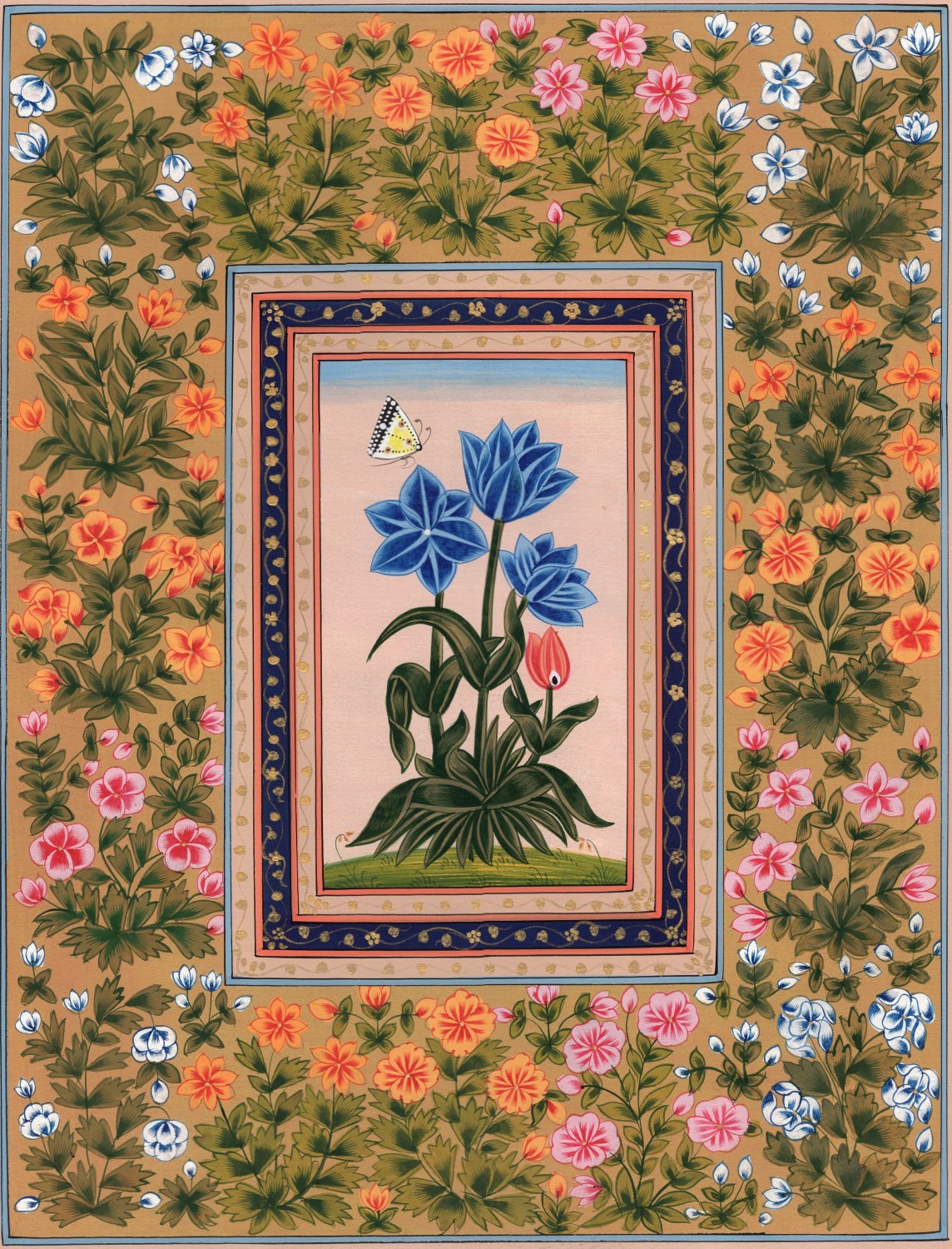 Mughal Floral Art Handmade Mogul Indian Flower Miniature Nature Floral Painting