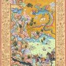Persian Shahnama Miniature Painting Rare Handmade Safavid Period Iran Tabriz Art