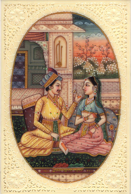Indian Mogul Empire Miniature Painting Handmade Watercolor Mughal Harem Folk Art