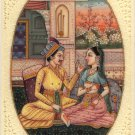 Indian Mogul Empire Miniature Painting Handmade Watercolor Mughal Harem Folk Art
