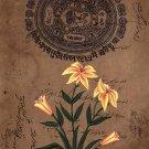 Mughal Miniature Painting Handmade Floral Flower Moghul Old Stamp Paper Artwork