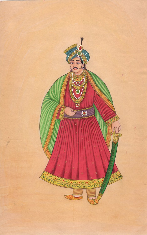 Maharajah Portrait Painting Handmade Indian Miniature Royalty Rajasthani Art