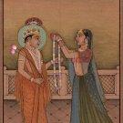 Krishna Radha Kangra Art Handmade India Hindu Ethnic Religion Miniature Painting