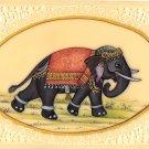 Elephant Decor Painting Handmade Indian Miniature Pachyderm Wild Life Folk Art