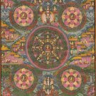 Pancha Buddha Mandala Thangka Art Handmade Tapestry Brocade Wall Decor Painting