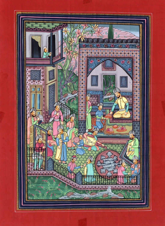Indo Persian Miniature Painting Handmade Mirza Ali Khamsa Nizami Iran Folk Art