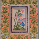 Mughal Floral Painting Handmade Moghul Indian Lily Flower Miniature Nature Art