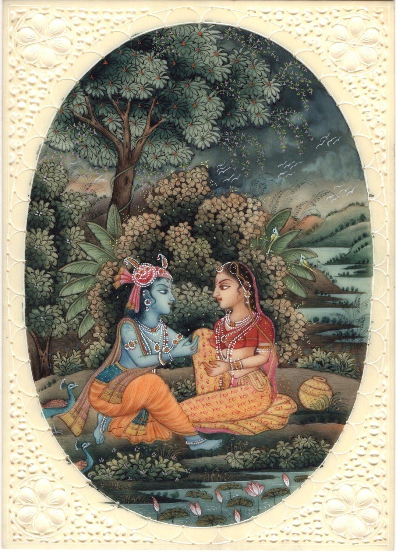 Radha Krishna Miniature Hindu Nature Painting Handmade Indian Home Decor Art