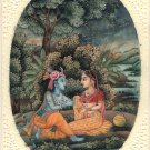 Radha Krishna Miniature Hindu Nature Painting Handmade Indian Home Decor Art
