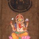 Ganesh Art Handmade Hindu Religion Art Old Stamp Paper Ethnic Ganesha Painting