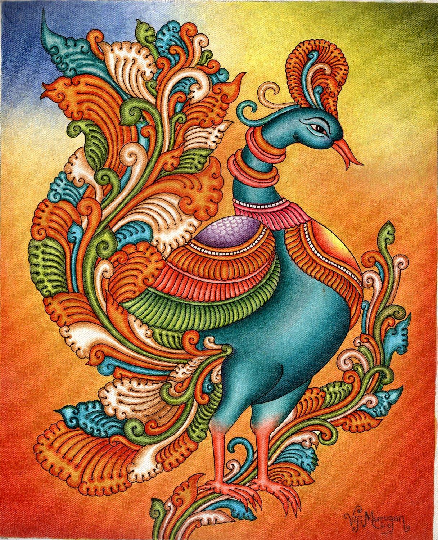 Kerala Mural Painting Handmade South Indian Nature Bird Ethnic Miniature Art