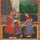 Moghul Miniature Painting Handmade Indian Ethnic Mughal Watercolor Folk Art