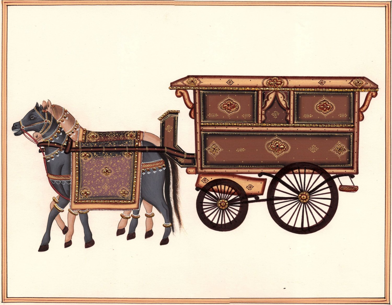 Indian Miniature Painting Handmade Rajasthani Ethnic Paper Art Horse Chariot