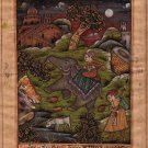 Mughal Empire Miniature Painting Handmade Imperial Royal Moghul Hunt Indian Art